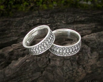 Dragon Scale Gothic Couples Rings, 925 sterling silver matching promise rings, alternative wedding bands set his and hers, non traditional