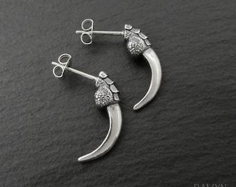 Raven Talon Earrings, 925 sterling silver gothic stud earrings, dragon claw earring studs for men or women, bird claw earrings, ear studs