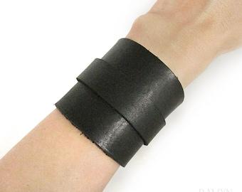 Soft Black Leather Cuff Bracelet, genuine leather bracelet, wide wristband with brass or nickel silver buckle, mens bracelet gift for biker