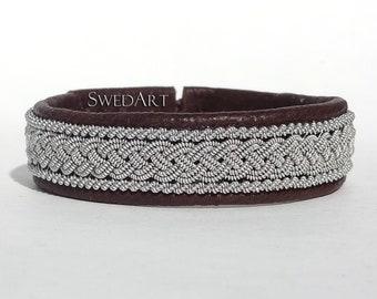 "SwedArt B05 XXS Classic Lapland Bracelet Reindeer Leather Antler Button 7/16"" Wide Dark Brown"