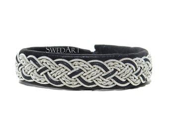 SwedArt B19 XS Stockholm Lapland Bracelet Reindeer Leather Antler Button Black