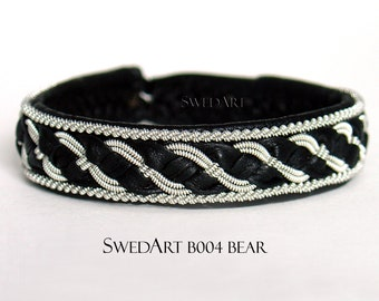 "SwedArt B04 XXS Viking Lapland Sami Leather Bracelet Antler Button 1/2"" Wide Black"