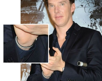 "SwedArt B12 SMALL Sami Lapland Reindeer Leather Sami Bracelet Antler Button 3/8"" Wide Benedict Cumberbatch Black"