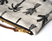 Small zip pouch - Palm Trees - Flax