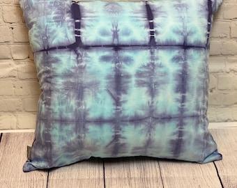 Shibori Dyed Pillow Cover in Glacier