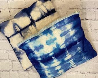 Indigo Shibori Cosmetic Bag