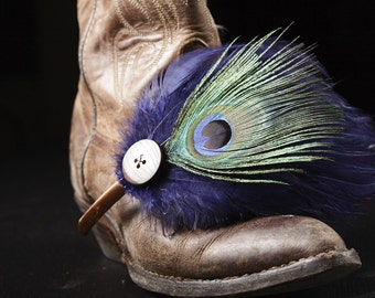 Into Your Eyes - Feather and vintage button headband