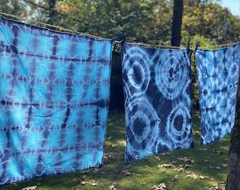 Shibori flour sack tea towels in Indigo