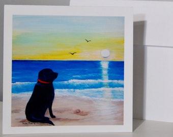 Black Lab Eco-Friendly 8x10 Print Cruising Beach Labrador Retriever