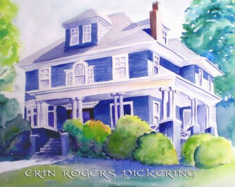 Gift Certificate Custom Traditional Watercolor House Portrait