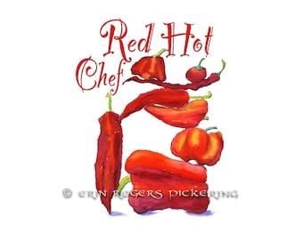 Red Hot Chef Kitchen Illustration fine art print
