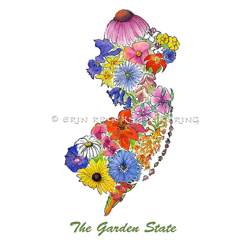 The Garden State Nj Map Native Wildflowers 8x10 Art Print Etsy