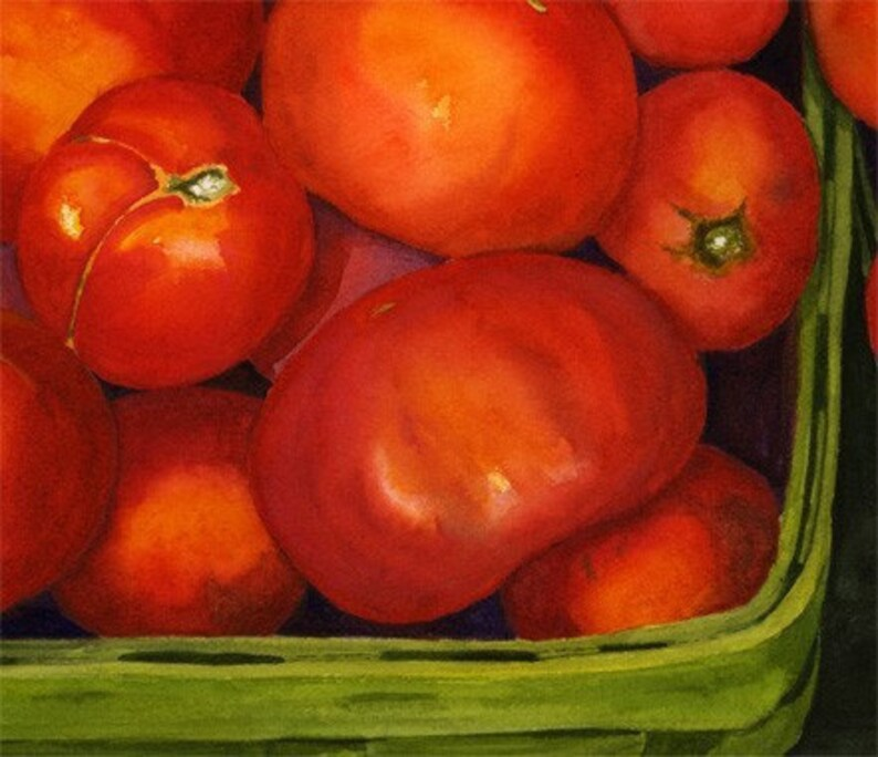 Red Tomatoes Green Basket 8x10 Print  from original watercolor image 0