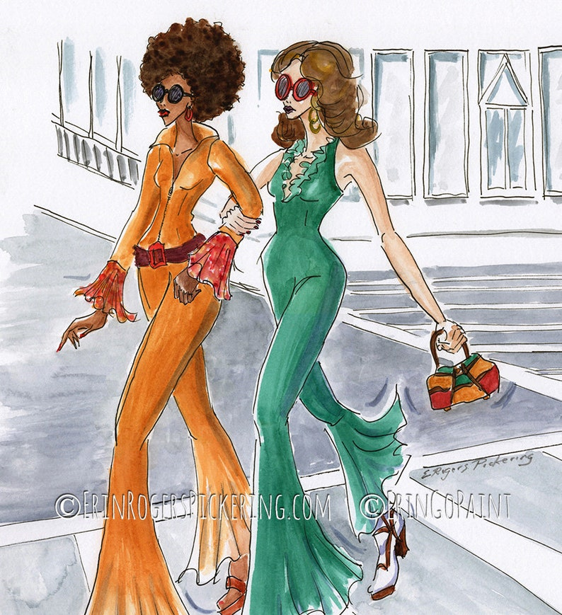 1970s Fashion Art print Shopping with your BFF image 0