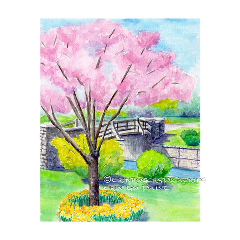 Maplewood in Bloom 8x10 fine art print of watercolor painting image 0