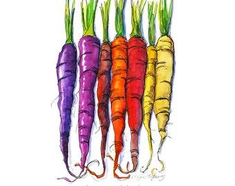 Rainbow Carrots 8x10 kitchen art print