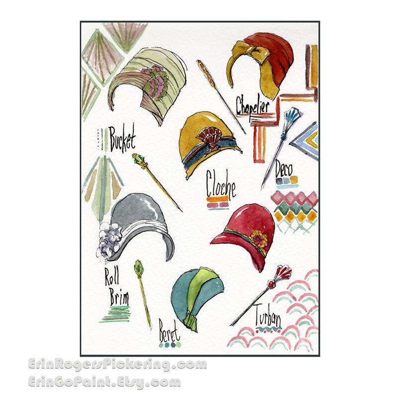 1920s Art Deco Hat collection 8x10 art print image 0