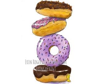 Donuts Food Art Kitchen art print Pastry