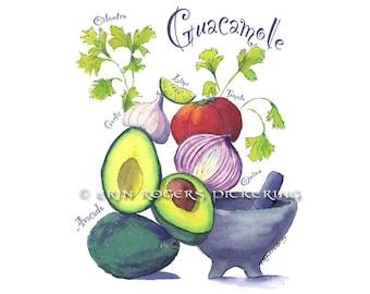 Food Art / Guacamole / Recipe art print 8x10 Kitchen Art