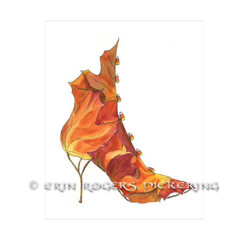 Sugar Maple Boot with Candy Corn buttons Shoe Art 8x10 print image 0
