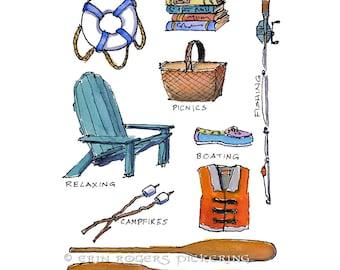 Lakeside illustration Fine Art Print