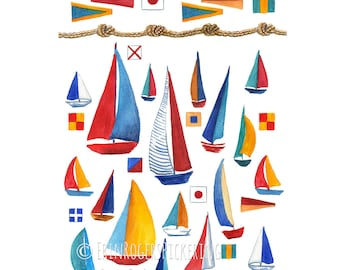 Sailboat Nautical fine art print 8x10