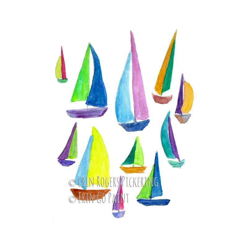 Pastel Rainbow Sailboats Coastal fine art print image 0