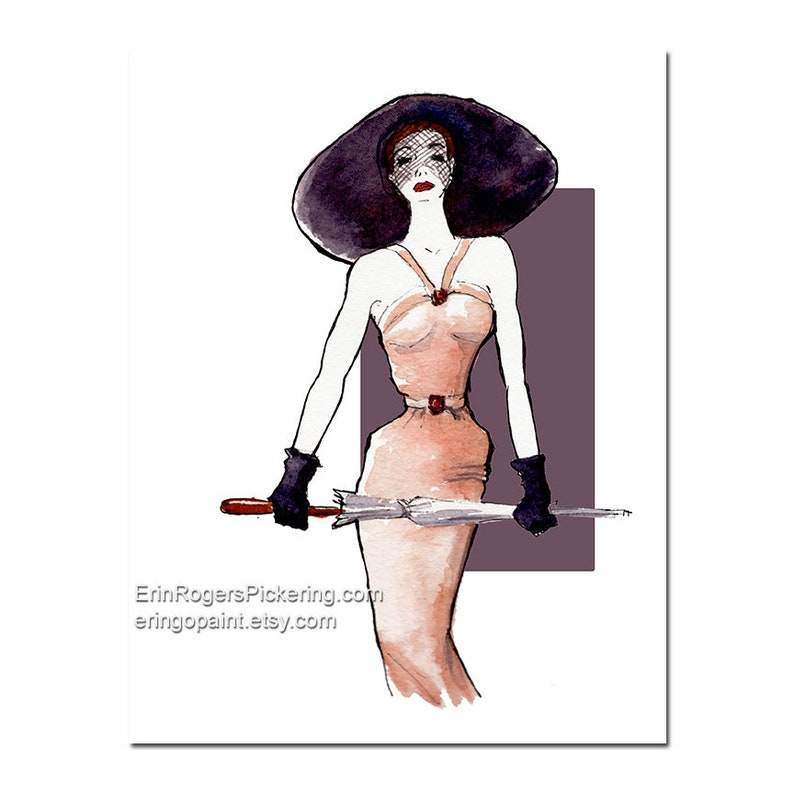 Fashion Illustration Print 1950s dress and hat 8x10 print image 0