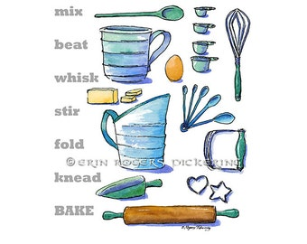 Baking Kitchen Art print 8x10