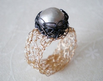 Statement crochet pearl ring-  Gold filled, sterling silver and pearl ring. LAST ONE