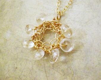 Crochet 14k gold filled crystal quartz pendant Necklace