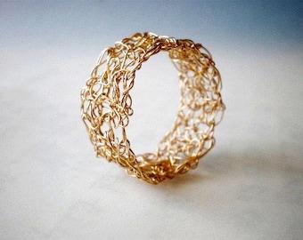 Crochet gold lace ring, Crochet 14K gold filled wire, crochet ring