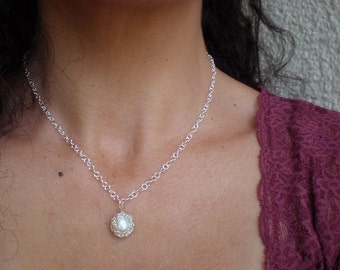 Once in a lifetime silver- crochet knitted silver and white pearl necklace
