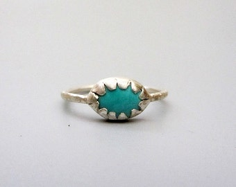 Turquoise Sterling Silver Tribal Ring, handmade sterling bezel ring - size 9