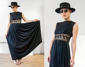 60s AF boutique Anne Fogarty  black crochet midriff rhinestone maxi dress, small