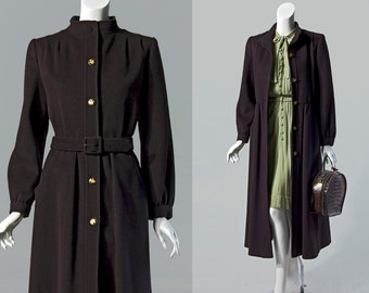 60s B Altman & Co black wool belted coat | size small
