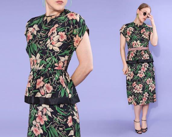 40s Hawaiian floral silk peplum dress | size small
