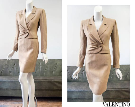 40s style by 80s Valentino Boutique tan wool skirt