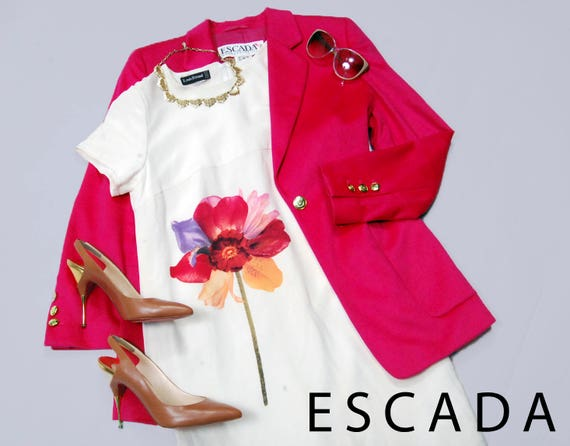 80s Escada hot pink angora wool blazer jacket - Si