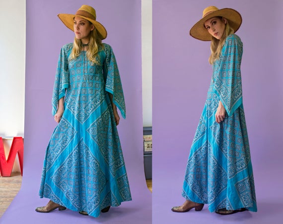 70s cerulean blue bandana handkerchief maxi dress