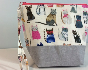 Small Project bag - Cats in sweaters