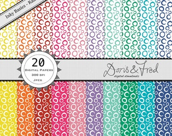 """inky, rainbow circles 12x12"""" 20 digital patterned papers *instant download* , for crafting, royalty free"""