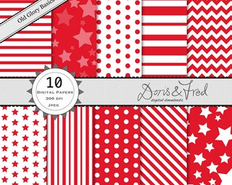10 old glory red _digital scrapbooking papers_ perfect for July 4th_ stars and stripes_ polka dots _ chevrons