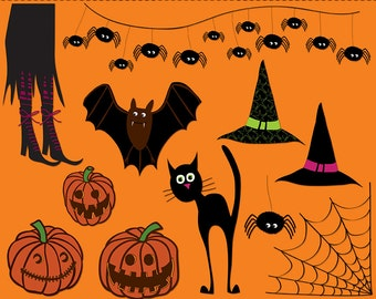 Halloween Clip art images, spooky clipart, royalty free clip art -- Instant Download