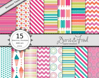 15 summer patterned digital papers, ice creams, popsicles stripes, chevrons royalty free