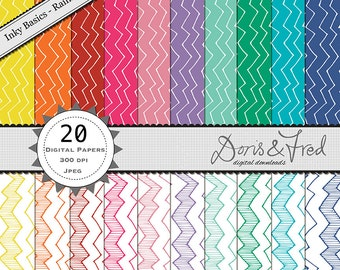 20 digital patterned papers *instant download* inky, basics,rainbow colours, zig zags for crafting, royalty free