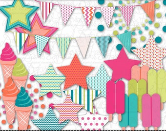 25 Summer Clip art images popsicles, ice creams bunting, invitations, parties, scrapbooking