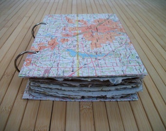 "Blank book, dream/travel journal, ring bound book, w. 20 sheets of assorted textured handmade paper. Deckle edge. 5.75"" x 8""  Handmade, USA"