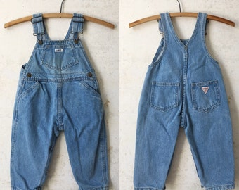 15edfa23dde Vintage 80 s Guess Baby Overalls Sz 24 Months 2T Toddler Denim