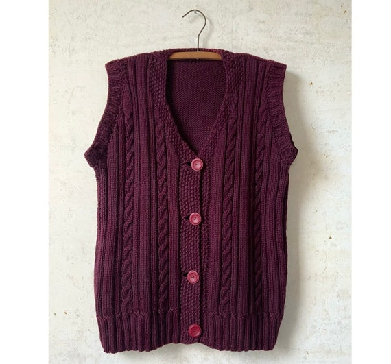 Vintage 30's Shaker Style Cable Knit Sweater Vest